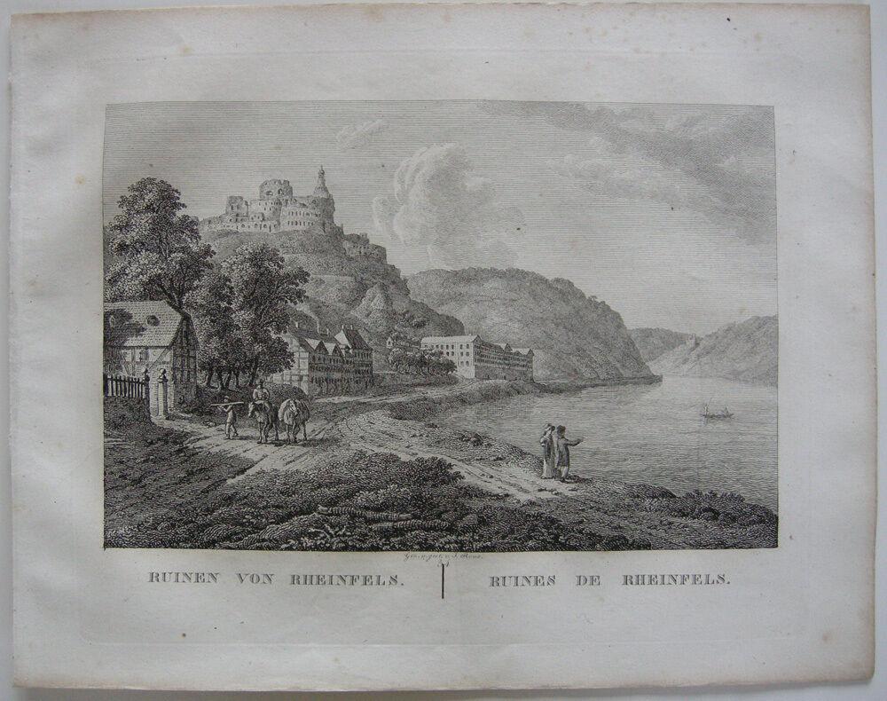 Ruinen Rheinfels Rhein Orig Kupferstich J. Roux 1822 Rheinland Pfalz 0