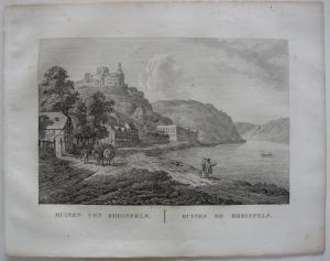Ruinen Rheinfels Rhein Orig Kupferstich J. Roux 1822 Rheinland Pfalz