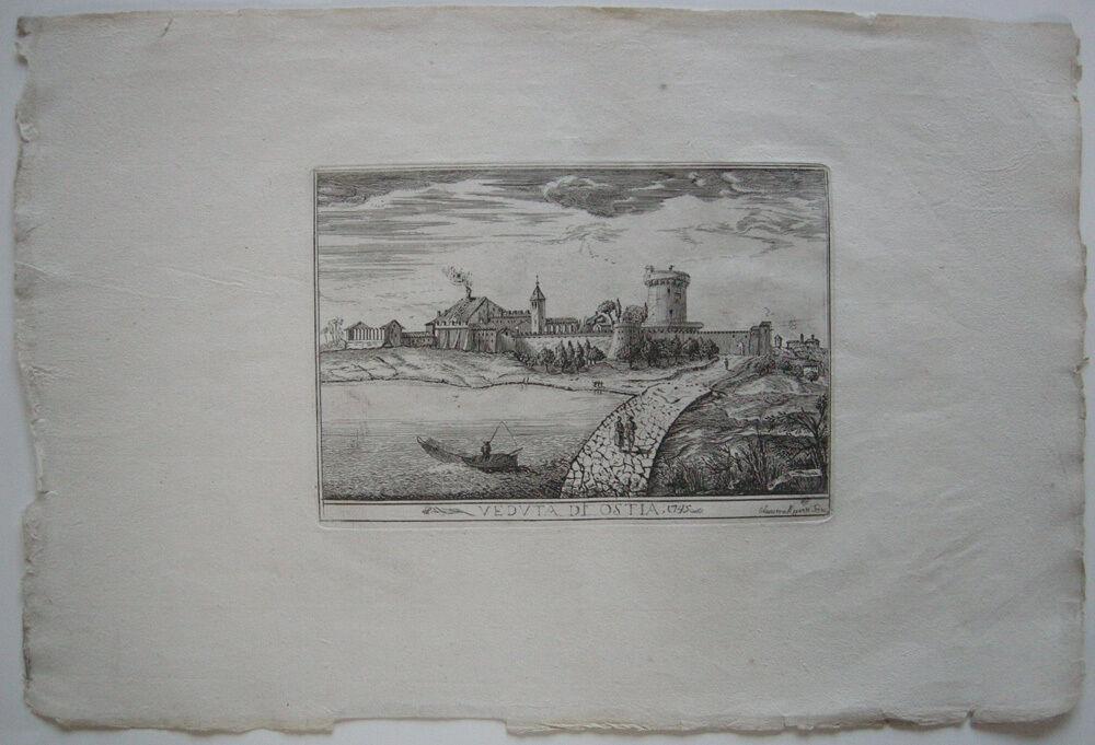 Veduta di Ostia Roma Italia Orig Kupferstich Silvestro Apponti 1745 Italien 0