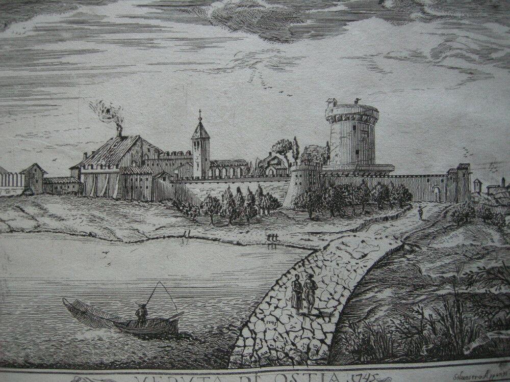 Veduta di Ostia Roma Italia Orig Kupferstich Silvestro Apponti 1745 Italien 1