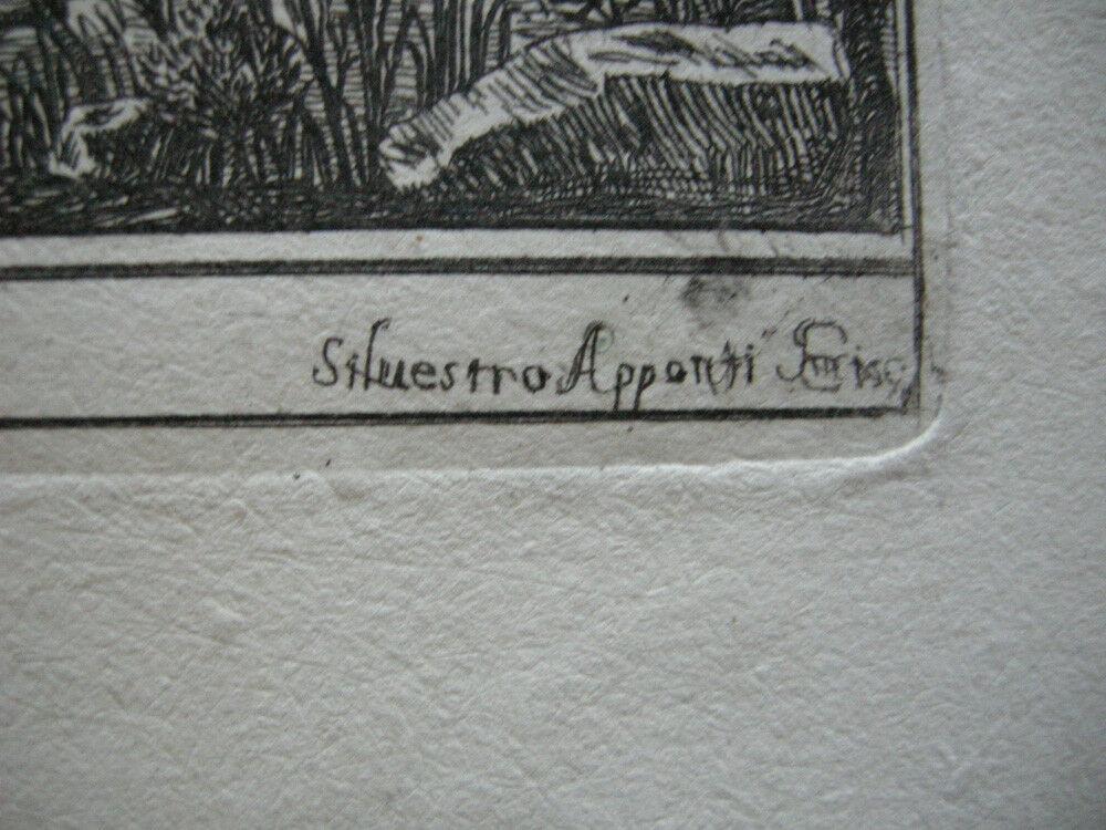 Veduta di Ostia Roma Italia Orig Kupferstich Silvestro Apponti 1745 Italien 2