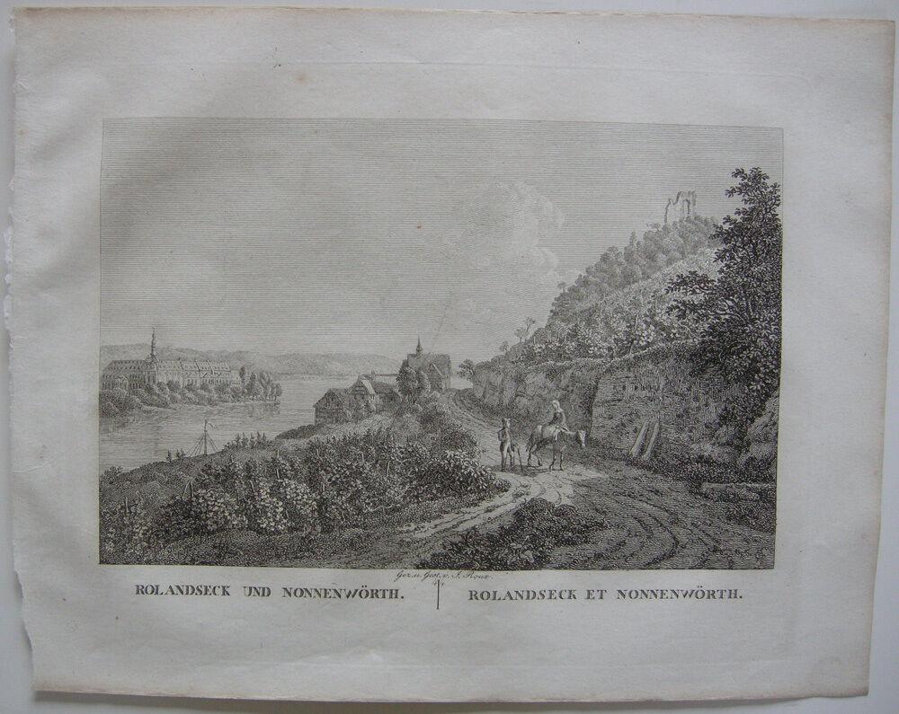 Rolandseck Nonnenwörth Rhein Orig Kupferstich J. Roux 1822 Rheinland Pfalz 0