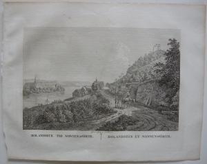 Rolandseck Nonnenwörth Rhein Orig Kupferstich J. Roux 1822 Rheinland Pfalz