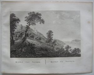 Ruinen Sooneck Bingen Rhein Orig Kupferstich J. Roux 1822 Rheinland-Pfalz