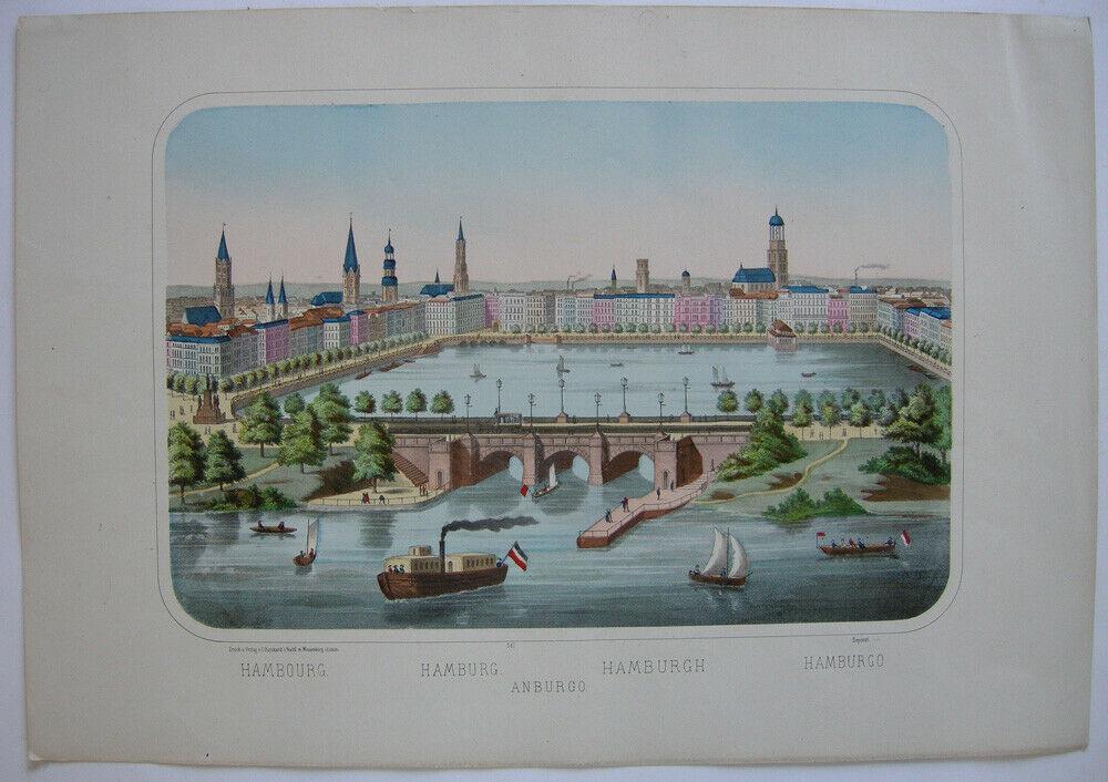 Hamburg Jungfernstieg Lombardsbrücke Binnenalster kolor. Federlithografie 1889 0