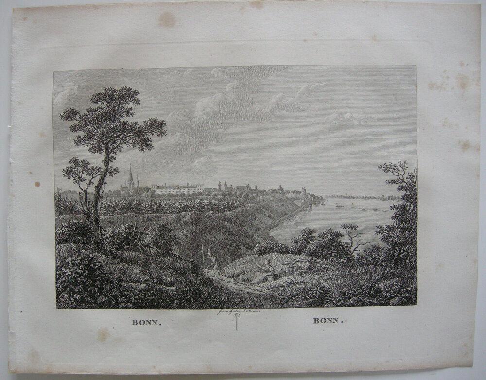 Bonn Gesamtansicht Orig Kupferstich J. Roux 1822 Nordrhein Westfalen 0