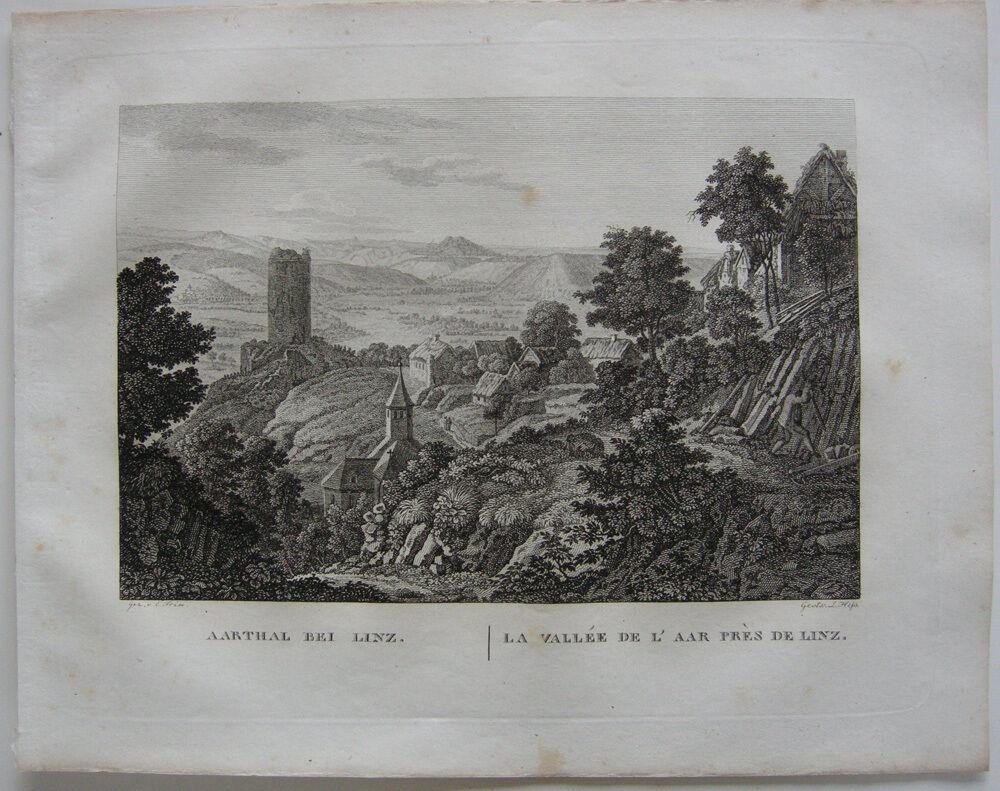 Ahrtal Linz Neuwied Rhein Orig Kupferstich J. Roux 1822 Rheinland Pfalz 0