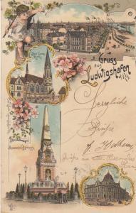 AK Ludwigshafen Ansicht Evang Kirche Post Brunnen Rheinland Pfalz Litho gel 1907