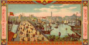 Österr Fabrik türkische Fez Chromolito 1880 Ansicht von Istambul Türkei