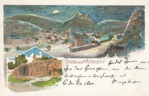AK Altenahr Totale Bahnhof Ruine Ahrweiler Litho gel 1900 Rheinland Pfalz
