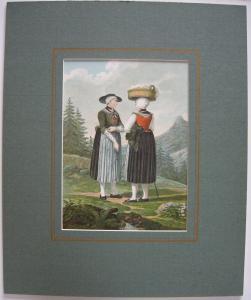 Bäuerinnen Tracht Hohenaschau Chiemgau Orig Lithografie 1903 Chiemsee Passepart