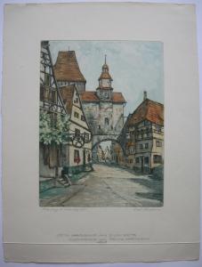 Fritz Hartmann (1878-1962) Rothenburg Röderbogen Orig. Farbradierung 1903