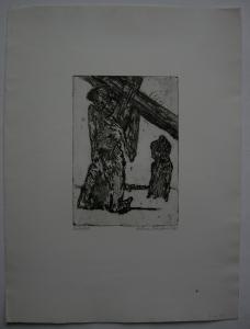 Hilmar Friedrich (1938) Kreuzfall Orig Radierung 1962 signiert datiert