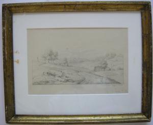 Bei Starnberg Starnberger See Orig. Bleistiftzeichnung gerahmt anonym um 1850