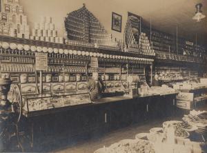 Orig Foto Innenansicht eines amerikanischen Lebensmittelladens dreißiger Jahre