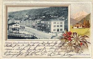 AK Rorschach Bahnhof Bauernhof geprägte BlumenSt. Gallen Litho gel 1904 Schweiz