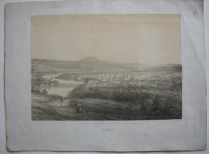 Linz Oberösterreich getönte Orig Lithografie Gesamtansicht C. Waage um 1840
