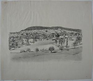 Uhwiesen Orig Lithographie Carl Wegmann 1950 Schweiz Zürich Laufen