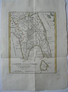 Griechenland Lakonien kolor Kupferstichkarte Bocage 1786 Antike Hellas