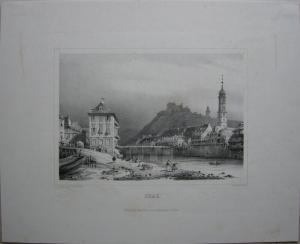Graz Murbrücke Schlossberg Franziskanerkirche Orig Lithografie Sandmann 1840