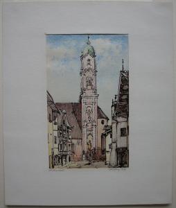 Mittenwald St. Peter und Paul Stadtpartie aquarell Tuschz Eugen Heinfling 1927