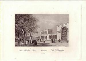 Bad Kissingen Arkaden-Bau Orig Stahlstich 1850 Buhl Unterfranken