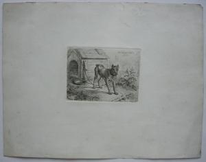 Johann Adam Klein (1792-1875) Am Neuen Jahr Kettenhund Orig Radierung 1831