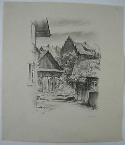 Gfenn Lazariterhaus Otto Baumberger Lithographie signiert 1950 Schweiz Zürich