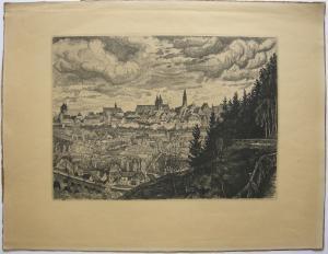 Rothenburg Tauber Gesamtansicht Orig. Lithografie 1928 Mittelfranken signiert