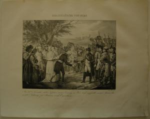 Die Schlüssel von Wien Napoleon Orig Lithographie 1832 Napoleonische Kriege