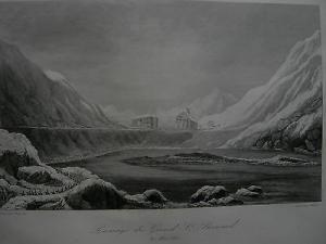 Napoleon Grosser St. Bernhard Italienfeldzug  Stahlstich 1837 Schweiz Italia