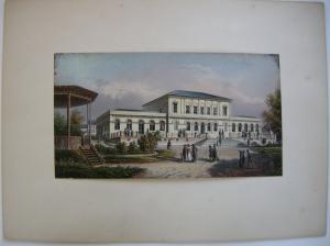 Bad Homburg Der Kursaal altkolor Stahlstich Buhl Dielmann 1840 Jügel