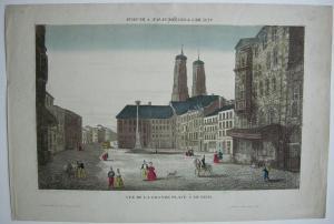 München Marienplatz Guckkastenblatt Perspective Vue kolor Orig Kupferstich 1830