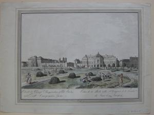 Wien Palais Auersperg Trautson altkolorierte Umrissradierung 1792 Österreich