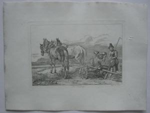 Johann Adam Klein (1792-1875) Bei Sendling Pflügende Bauern Orig Radierung 1845