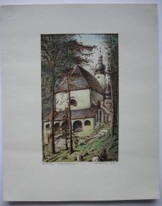 Kirche St. Anton Garmisch Oberbayern Orig Aquarell Eugen Heinfling 1930 signiert