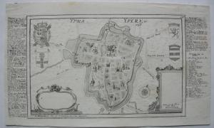 Ypern Ypres Yper Belgien Flandern Belge Grundrissplan Bodenehr Kupferstich 1725