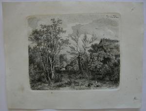 C. A. Lebschee (1800-1877) Partie an der Würm Orig. Radierung 1828