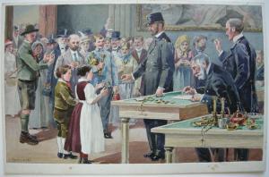 E. Reckziegel Gold für den Krieg Österreich 1. Weltkrieg Orig Aquarell 1916