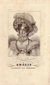 Amalie Königin von Frankreich Portrait Orig Stahlstich 1850