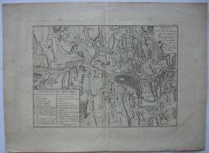 Prag Französische Belagerung 1742 Erbfolgekrieg Orig Kupferstich 1750 Tschechien