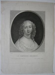 La Comtesse d'Elbeuf France Portrait Orig Kupferstich Chaponnier Fleury 1750