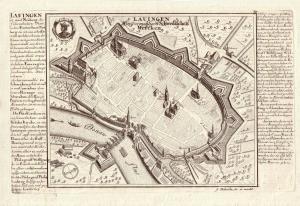 Lauingen Vogelschau Ansicht Orig. Kupferstich Bodenehr  1720  Bayer Schwaben