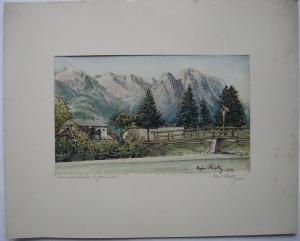 Loisachbrücke be Garmisch Oberbayern Orig Aquarell Eugen Heinfling 1933 signiert