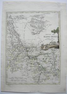 Circolo del Basso Reno Niederrhein kolor Kupferstichkarte A. Costa 1793