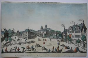 Vue d'optique Szczecin Stettin Polen Pferdemarkt 1750 kolor Orig Kupferstich