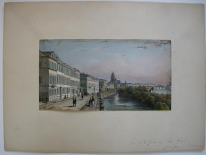 Frankfurt Main Quai Untermainthor altkolor Stahlstich Buhl Dielmann 1840 Jügel