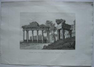 Avanzi dell' Antico Tempio di Giove Roma Italia Orig Kupferstich Vegni 1845