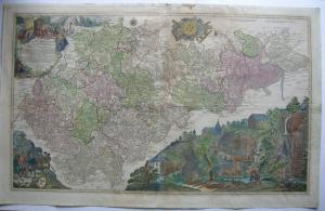 Bergwerkskarte Lotter Erzgebirge Sachsen Kolor Orig Kupferstich 2 Platten 1740