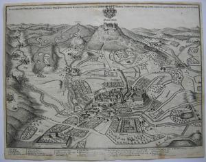 Hechingen hohenzollern Vogelschau-Ansicht Orig. Kupferstich Merian 1650 Alb